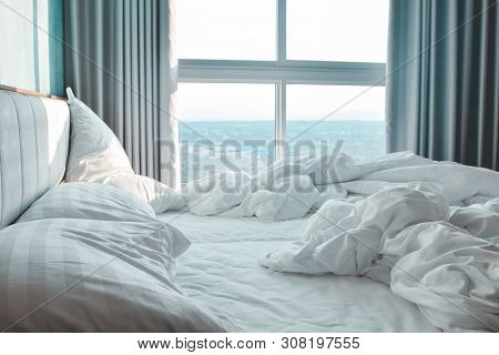 Comfortable Bedroom, Messy Bedding Sheets And Duvet With Wrinkle Messy In The Bedroom