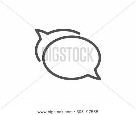Talk Bubble Line Icon. Speech Bubble Sign. Chat Message Symbol. Quality Design Element. Linear Style