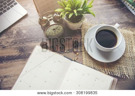 Planner And Concept.desktop Calender 2019,laptop,cup Of Coffee Place On Office Desk,working Space.no