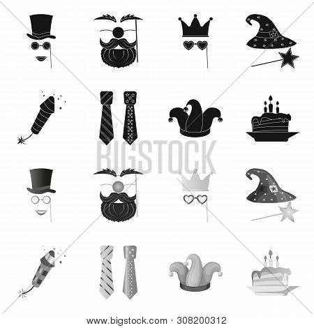 Bitmap Illustration Of Party And Birthday Logo. Collection Of Party And Celebration Bitmap Icon For