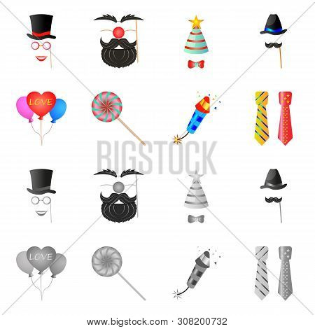Bitmap Design Of Party And Birthday Logo. Collection Of Party And Celebration Stock Bitmap Illustrat