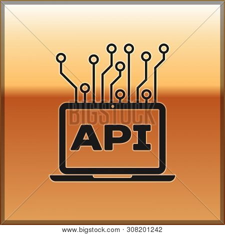 Black Computer Api Interface Icon Isolated On Gold Background. Application Programming Interface Api