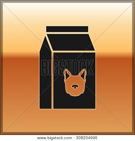 Black Bag Of Food For Dog Icon Isolated On Gold Background. Food For Animals. Pet Food Package. Vect