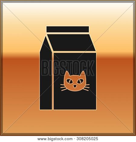 Black Bag Of Food For Cat Icon Isolated On Gold Background. Food For Animals. Pet Food Package. Vect