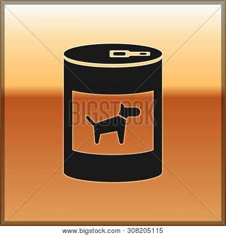Black Canned Food For Dog Icon Isolated On Gold Background. Food For Animals. Pet Dog Food Can. Vect
