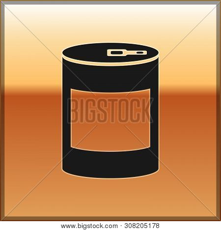 Black Canned Food Icon Isolated On Gold Background. Food For Animals. Pet Food Can. Vector Illustrat