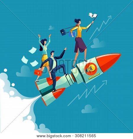 Businesswoman Flying On Rocket On Background Of Sky, Clouds And Growth Arrows, Business Concept Cart