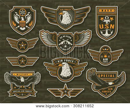 Vintage Armed Forces Insignias And Badges Of Different Shapes With Eagles Stars Anchor Crossed Snipe