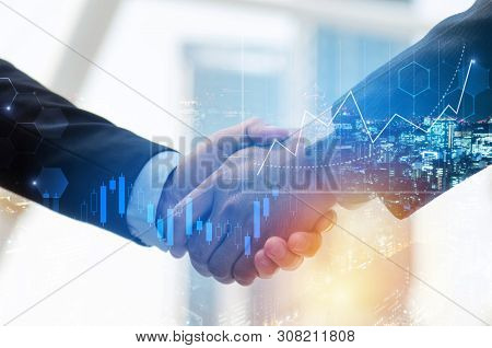 Business Man Shaking Hand With Graph Chart Of Stock Market Investment Trading For Forex Trading Grap