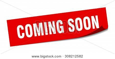 Coming Soon Square Sticker. Coming Soon Sign. Coming Soon Banner