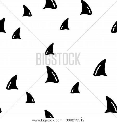 Ocean Killer Shark Whale Seamless Pattern Vector. Design Silhouette Of Fish Body Element Of Sea Dolp