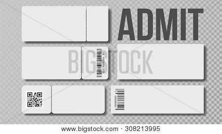 Design Blank Template Of Admit Ticket Set Vector. Cinema Movie Or Theater, Football Or Basketball, V