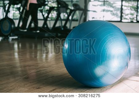 Exercise Blue Color Ball In Fitness, Gym Equipment And Fitness Balls In Sports Club.sports Outdoors