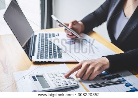 Businesswoman Accountant Working Analyzing And Calculating Expense Financial Annual, Financial Balan