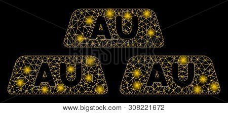 Glowing Mesh Gold Bullions With Lightspot Effect. Abstract Illuminated Model Of Gold Bullions Icon.