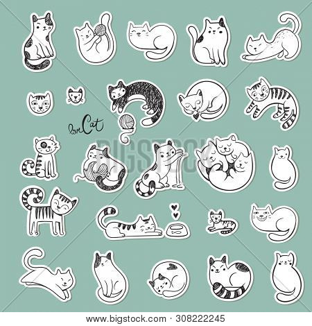 Stickers with cute doodle cats with different emotions.