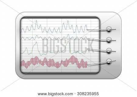 Simple polygraph vector illustration in realistic style, lie detector test with recorders and data graphs, truth test or physiological monitoring concept poster