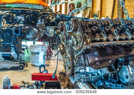 V8 Engine From Car Being Rebuilt In Garage