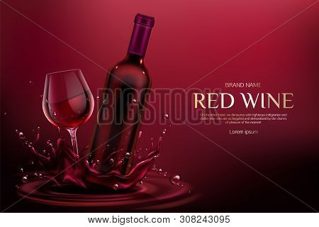 Red Wine Bottle And Glass Mockup. Closed Blank Flask And Wineglass Mock Up With Alcohol Vine Drink O