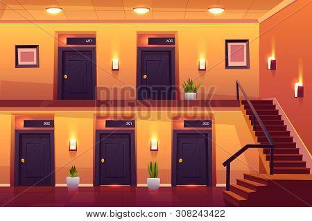 Rooms In Hotel Corridor With Stairs On Second Floor, Empty Luxury Hotel Hallway Interior Cross Secti