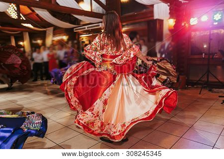 Gypsy Dance Festival, Woman Performing Romany Dance And Folk Songs In National Clothing. Beautiful R