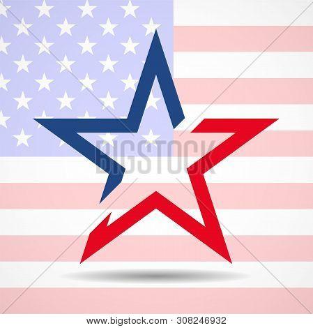 Usa Flag In Star Shape. American Star. Vector
