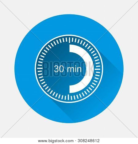 Clock Icon Indicating Time Interval Of 30 Minute On Blue Background. Flat Image Thirty Minutes With