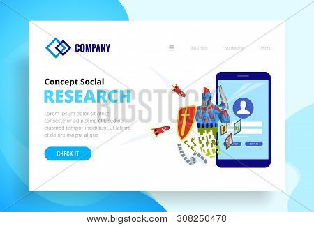 Robot Protects The Web Site And Viruses Attacking Him. Landing Page Template Of Security Web Site. M