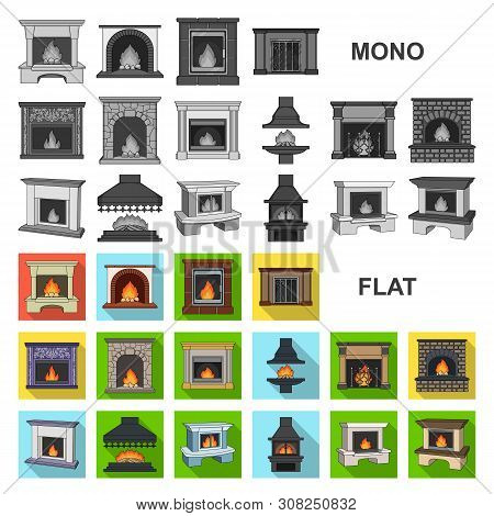 Different Kinds Of Fireplaces Flat Icons In Set Collection For Design.fireplaces Construction Bitmap