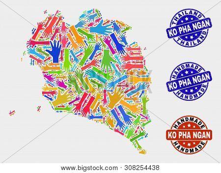 Vector Handmade Collage Of Ko Pha Ngan Map And Scratched Stamp Seals. Mosaic Ko Pha Ngan Map Is Cons