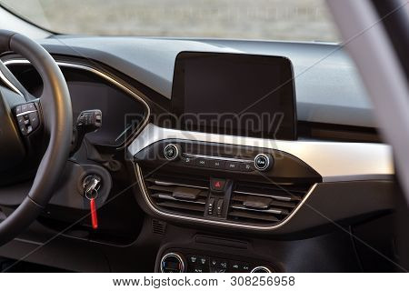 Screen Multimedia System On Dashboard In A Modern Car