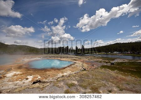 Geothermal Lake And Sediments In Yellowstone, Wyoming, Usa