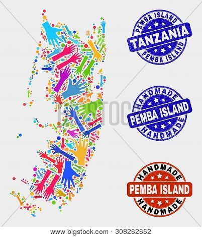 Vector Handmade Composition Of Pemba Island Map And Unclean Seals. Mosaic Pemba Island Map Is Made O