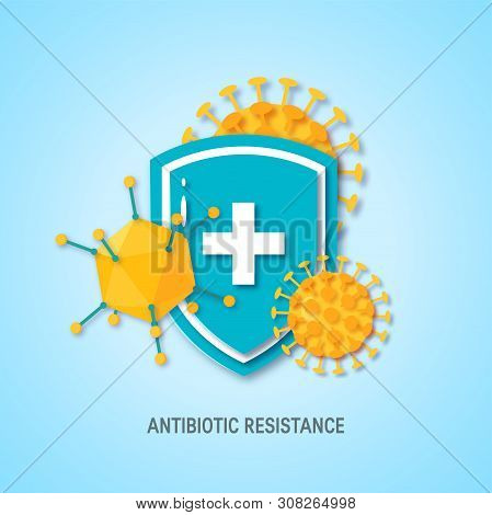 Immune System Concept. Medical Shield Surrounded By Viruses And Bacterium In Paper Cut Style, Vector