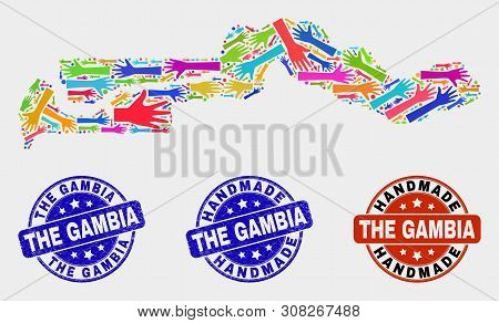 Vector handmade composition of the Gambia map and textured watermarks. Mosaic The Gambia map is formed with random bright colorful hands. Rounded watermarks with grunge rubber texture. poster
