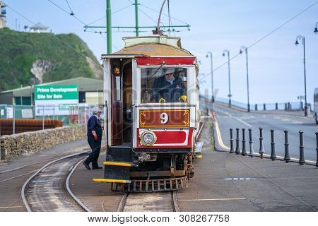 Laxey, Isle Of Man, June 15, 2019. The Manx Electric Railway Is An Electric Interurban Tramway Conne