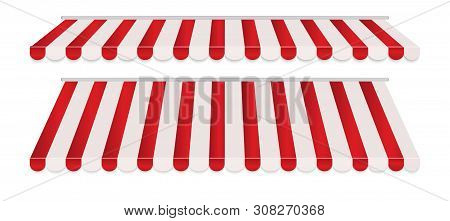 Set Of Red And White Strip Colorful Awnings For Shop. Tent Sunshade For Market Isolated On White Bac