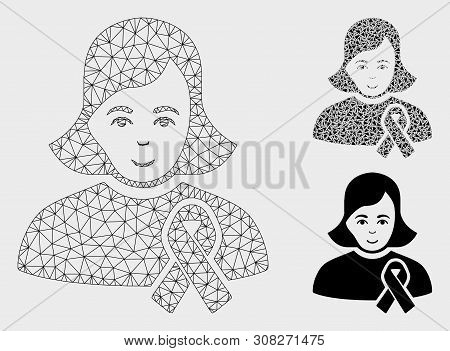 Mesh Girl With Sympathy Ribbon Model With Triangle Mosaic Icon. Wire Carcass Triangular Mesh Of Girl