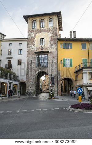 Udine, Friuli Venezia Giulia Region, Italy. March 21 2019.  A View Of  The Medieval Manin Tower City