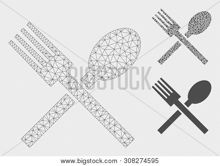 Mesh Food Model With Triangle Mosaic Icon. Wire Frame Triangular Mesh Of Food. Vector Collage Of Tri