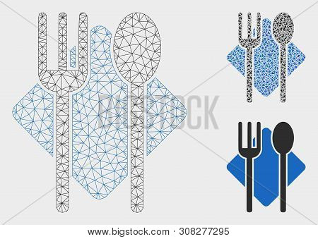 Mesh Food Model With Triangle Mosaic Icon. Wire Frame Polygonal Mesh Of Food. Vector Collage Of Tria