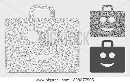 Mesh Glad Case Model With Triangle Mosaic Icon. Wire Carcass Triangular Mesh Of Glad Case. Vector Mo