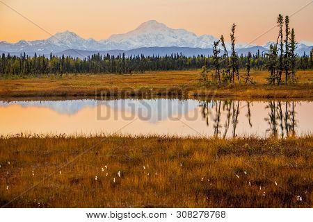 Orange Sky Above Mt.mc Kinley In Alaska From Petersville Rd.