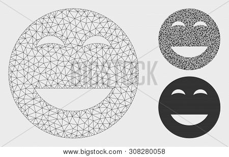 Mesh Glad Smiley Model With Triangle Mosaic Icon. Wire Carcass Polygonal Mesh Of Glad Smiley. Vector