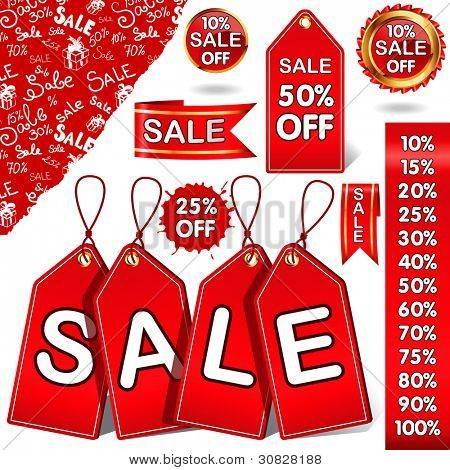 Set of red discount tickets, labels,stickers, corners, tags, pattern.