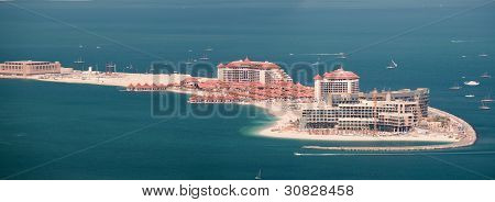 View on luxury hotels on artificial island Palm Jumeirah
