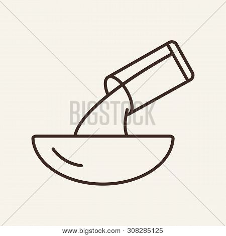 Pouring Into Bowl Line Icon. Glass, Liquid, Pan. Cooking Concept. Vector Illustration Can Be Used Fo