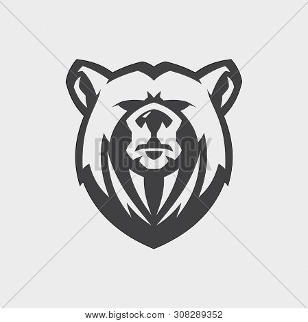 Bear Head Mascot Vector For Emblem Design With Color Grey. Wild Animal Silhouette Of Head Bear For E