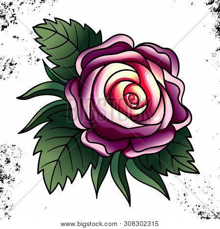 Tattoo Rose Pion Flower.tattoo, Mystic Symbol. Boho Print.vector Illustration Art. Vintage Engraving