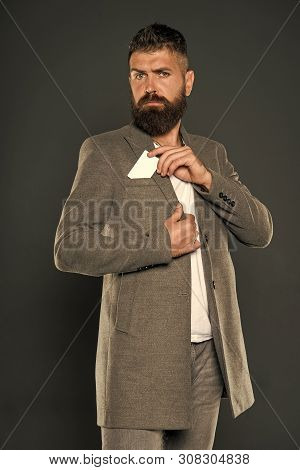 Man Bearded Hipster Hold Plastic Blank Card. Banking And Credit Concept. Plastic Bank Card. Easy Mon